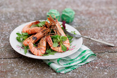 Grilled shrimps served outdoor in winter Stock Photos