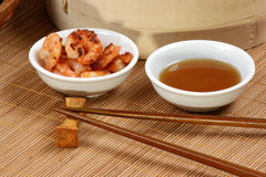 Grilled shrimps with some sesame oil. Grilled shrimps with some organic sesame oil stock photos