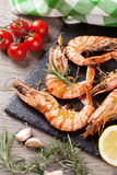 Grilled shrimps on stone plate Royalty Free Stock Photo