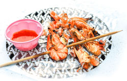 Grilled shrimps with sweet garlic chilli Sauce. Stock Image