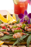 Grilled shrimps, tropical Stock Image