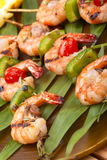 Grilled shrimps, tropical Royalty Free Stock Photos