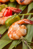 Grilled shrimps, tropical royalty free stock image