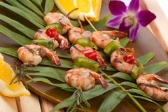 Grilled shrimps, tropical Royalty Free Stock Photography