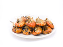 Grilled shrimps on the white plate Royalty Free Stock Photos