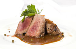 Grilled Sirloin with pepper sauce Stock Photo