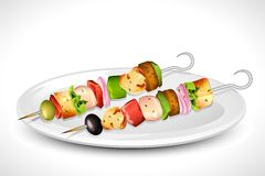 Grilled Skewer. Illustration of roasted vegetable and mushroom in grilled skewer Royalty Free Stock Photos