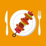 Grilled skewer icon Stock Images