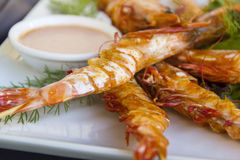 Grilled Skewered Shrimps Stock Photography