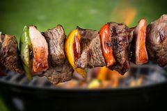 Grilled skewers Stock Image