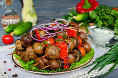 Grilled skewers of mushrooms and vegetables Royalty Free Stock Photo