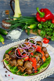 Grilled skewers of mushrooms and vegetables Stock Photo