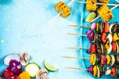 Grilled skewers, vegetarian restaurant menu template Stock Photos