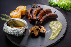 Grilled sliced barbecue pork ribs Royalty Free Stock Photography
