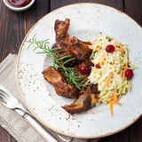 Grilled sliced barbecue pork ribs Salad cole slaw Stock Photos