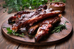 Grilled sliced barbecue pork ribs Stock Photos