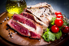 Grilled sliced meat fillet Stock Photo
