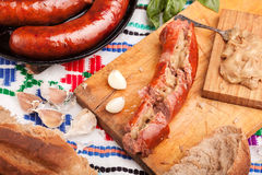 Grilled sliced sausage Royalty Free Stock Photography