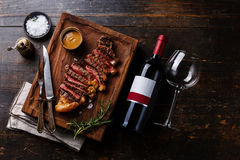 Grilled sliced Steak Striploin with Pepper sauce Stock Image