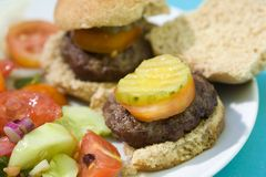 Grilled Slider Hamburgers Royalty Free Stock Images