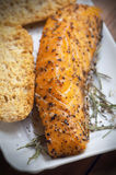 Grilled smoked salmon and spices Stock Photography
