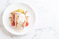 Grilled snapper fish steak Royalty Free Stock Photos