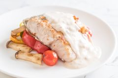 Grilled snapper fish steak Royalty Free Stock Image