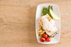 Grilled snapper fish steak. With vagetable Stock Photography