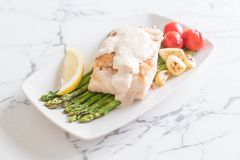 Grilled snapper fish steak. With vagetable Stock Images