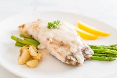 Grilled snapper fish steak. With vagetable Royalty Free Stock Photo
