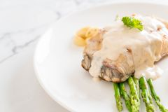 Grilled snapper fish steak. With vagetable Stock Photos