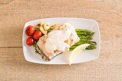 Grilled snapper fish steak Royalty Free Stock Images