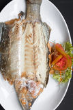 Grilled snapper with salt Stock Photos