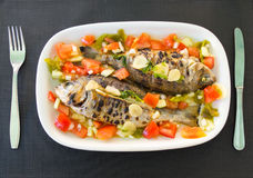 Grilled snappers with tomato salad. Typical mediterranean dish. Stock Images