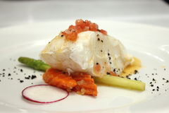 Grilled Snow Fish with white sauce. Stock Photography