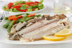 Grilled sole with vegetables Royalty Free Stock Photography