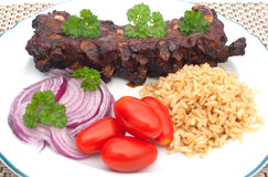 Grilled spare ribs with rice Royalty Free Stock Photography