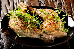 Grilled spicy chicken legs with herbs Royalty Free Stock Images