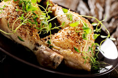 Grilled spicy chicken legs with herbs Royalty Free Stock Photos