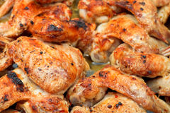 Grilled spicy chicken wings close up Royalty Free Stock Photo