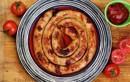 Grilled Spiral Sausage Stock Photo