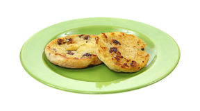 Grilled Split Raisin English Muffin Royalty Free Stock Photography