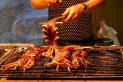 Grilled squid. Baked squid on the night market royalty free stock photo
