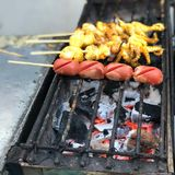Grilled squid and fish ball grill royalty free stock image