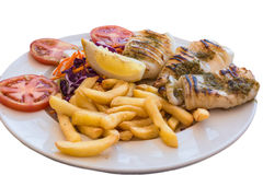 Grilled squid with french fries Stock Photo