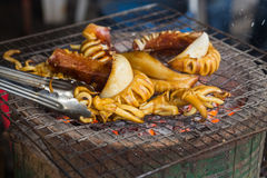 Grilled squid. On the grill Royalty Free Stock Photo