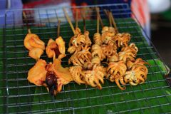 Grilled squid for sale Royalty Free Stock Photo