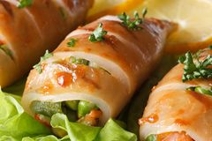 Grilled squid stuffed with vegetables on salad macro. Horizontal Royalty Free Stock Photography