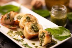Free Grilled Squid Stuffed With Basil Pesto Sauce Royalty Free Stock Photography - 138480527