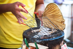 Grilled squid at Tai Fishing Village, Hong Kong Royalty Free Stock Photo
